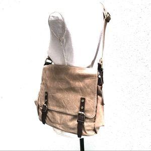 Handbags - NWT Vegan Leather Crossbody Laptop Bag Taupe
